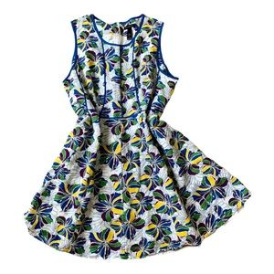 Ashley Stewart Piped Tropical Linen Dress
